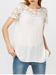 Lace Hollow Out Panel Criss Cross Flowy Blouse - Blanc