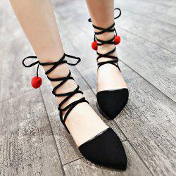 Tie Up Pompoms Flat Shoes