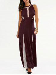 Mesh Insert Long Formal Evening Dress