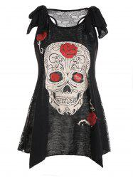 See Thru Skulls Lace Back Tank Top - BLACK XL