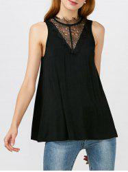 Lace Panel Tie Back Tank Top