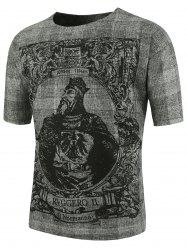 Emperor Print Short Sleeve Plus Size T-Shirt - DEEP GRAY