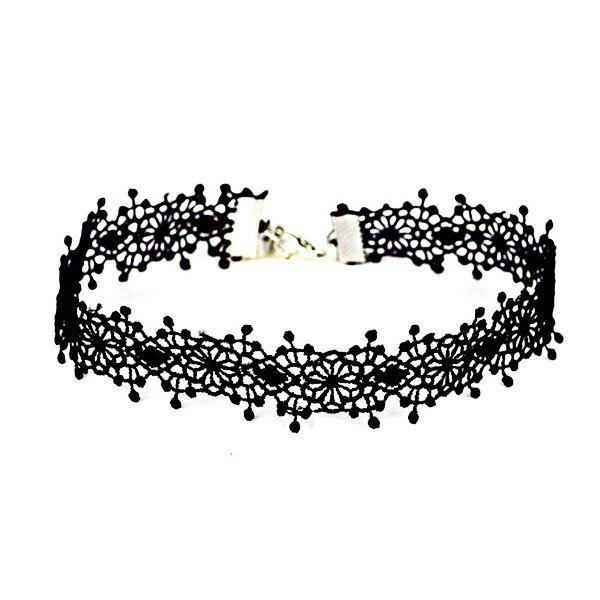 Vintage Floral Crochet Choker NecklaceJEWELRY<br><br>Color: BLACK; Item Type: Chokers Necklace; Gender: For Women; Style: Trendy; Shape/Pattern: Floral; Length: 35CM; Weight: 0.0300kg; Package Contents: 1 x Necklace;