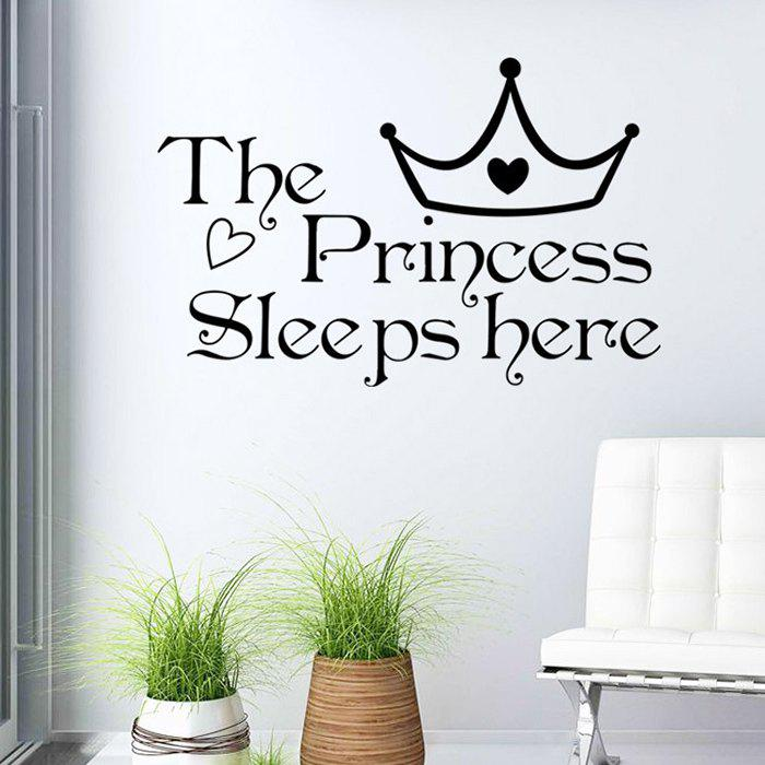 Princess Letters Wall Stickers For BedroomsHOME<br><br>Color: BLACK; Wall Sticker Type: Plane Wall Stickers; Functions: Decorative Wall Stickers; Theme: Words/Quotes; Material: PVC; Feature: Removable; Weight: 0.1800kg; Package Contents: 1 x Wall Stickers;