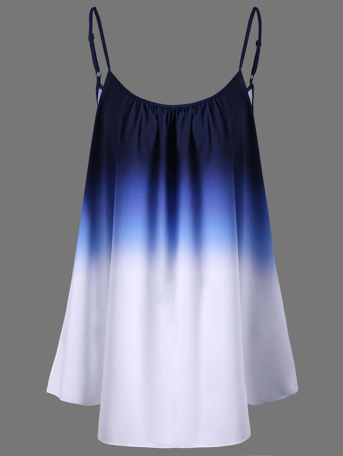 Ombre Plus Size Cami TopWOMEN<br><br>Size: 3XL; Color: BLUE; Material: Cotton,Cotton Blends,Polyester; Shirt Length: Regular; Sleeve Length: Sleeveless; Collar: Spaghetti Strap; Style: Fashion; Season: Spring,Summer; Pattern Type: Print; Weight: 0.1400kg; Package Contents: 1 x Top;