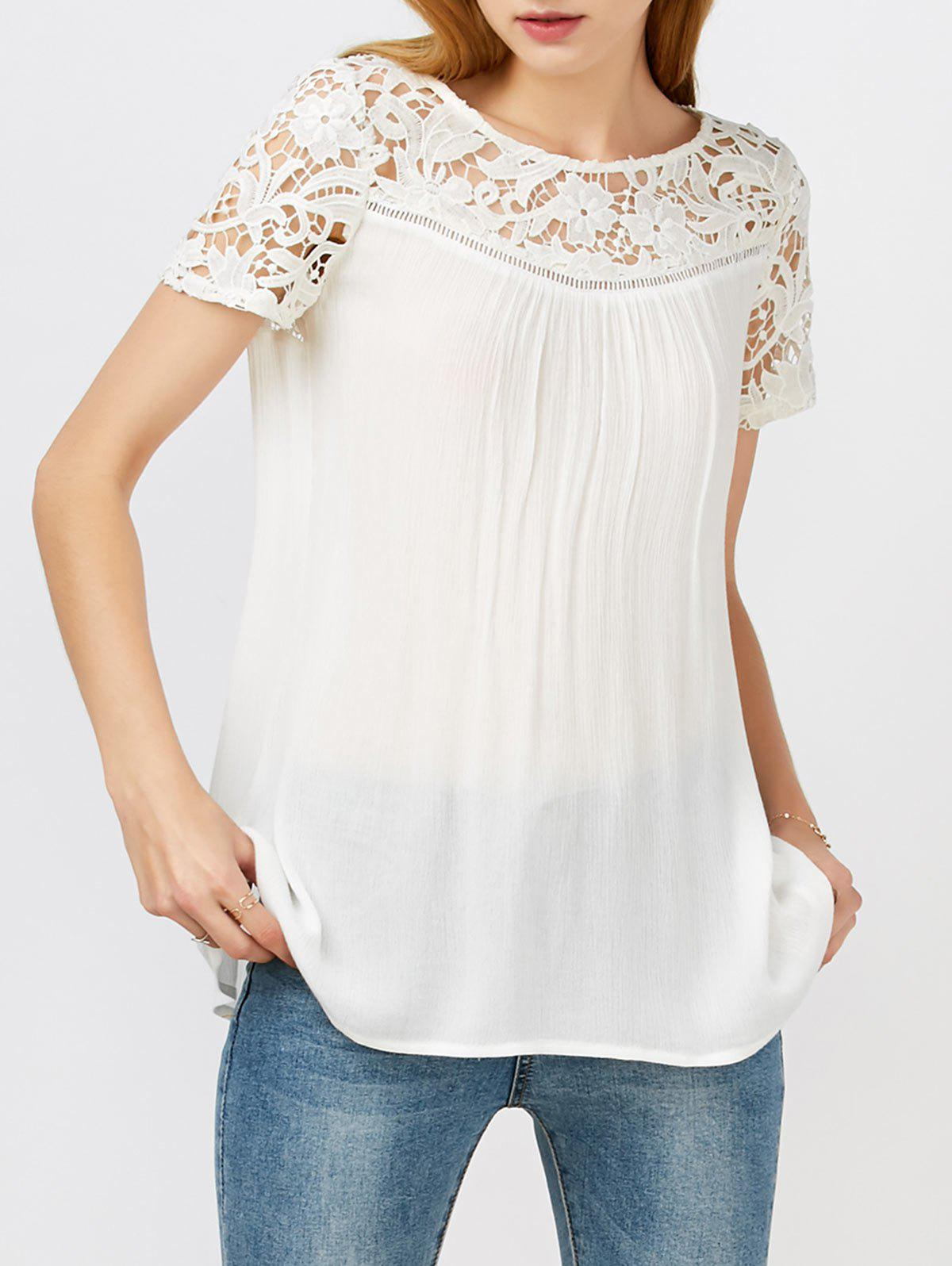 Trendy Lace Hollow Out Panel Criss Cross Flowy Blouse
