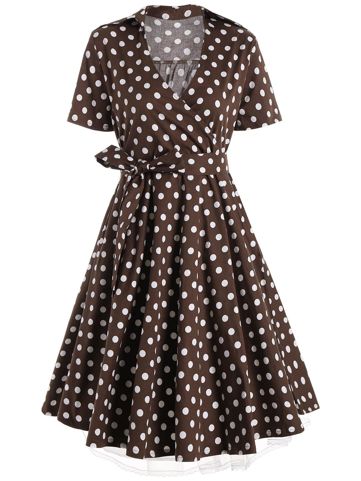 A Line Polka Dot Plus Size DressWOMEN<br><br>Size: XL; Color: COFFEE; Style: Vintage; Material: Polyester; Silhouette: A-Line; Dresses Length: Knee-Length; Neckline: V-Neck; Sleeve Length: Short Sleeves; Pattern Type: Polka Dot; Placement Print: No; With Belt: Yes; Season: Summer; Weight: 0.4500kg; Package Contents: 1 x Dress  1 x Belt;