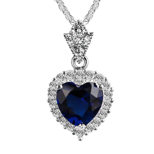 Artificial Diamond Gemstone Heart Pendant NecklaceJEWELRY<br><br>Color: ROYAL; Item Type: Pendant Necklace; Gender: For Women; Necklace Type: Link Chain; Material: Rhinestone; Style: Noble and Elegant; Shape/Pattern: Heart; Length: 43CM; Weight: 0.0500kg; Package Contents: 1 x Necklace;
