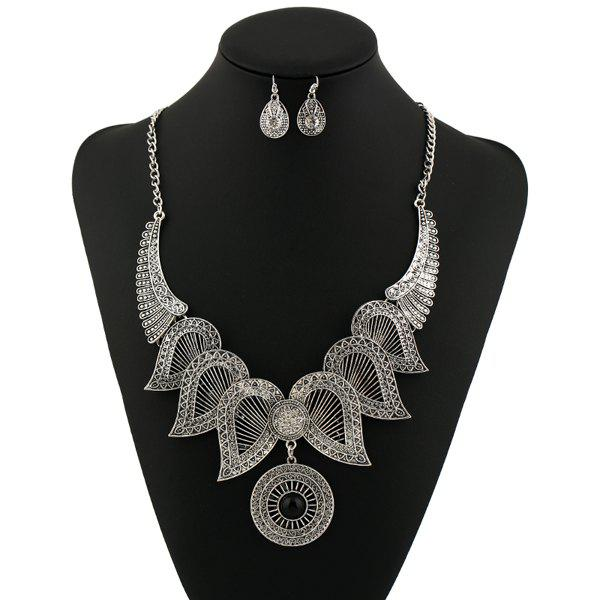Rhinestone Circle Angel Wings Jewelry SetJEWELRY<br><br>Color: SILVER; Item Type: Pendant Necklace; Gender: For Women; Necklace Type: Link Chain; Style: Trendy; Shape/Pattern: Wing; Weight: 0.1200kg; Package Contents: 1 x Necklace 1 x Earring (Pair);