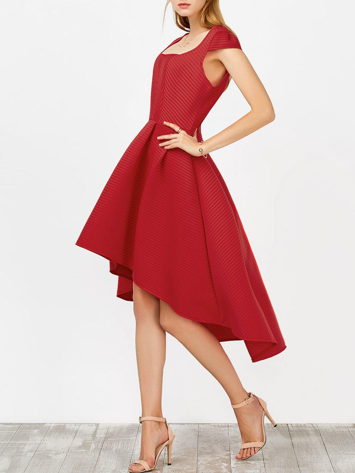 2018 High Low Tea Length Wedding Guest Dress In Red L | Rosegal.com