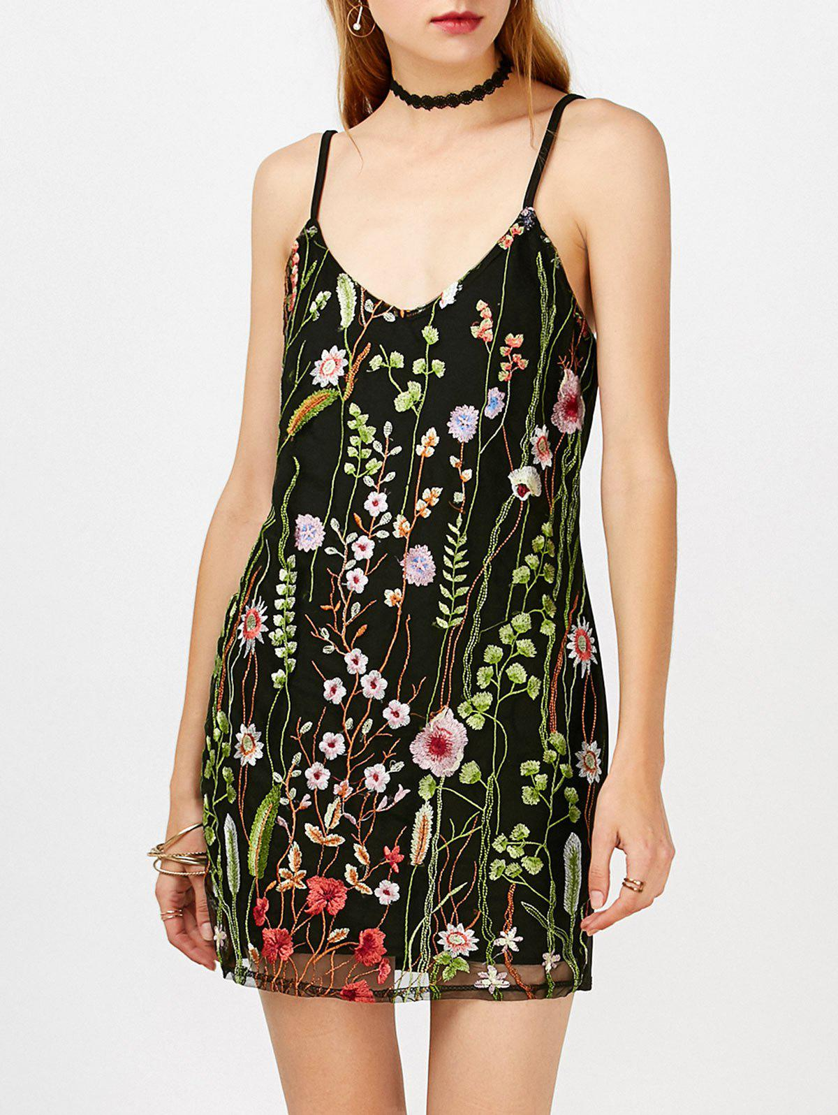 Cheap Floral Overlay Embroidered Mesh Dress
