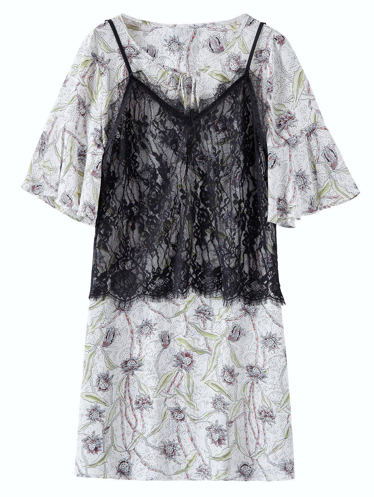 3ccd56dfcf5 2019 Chiffon Floral Plus Size Dress With Camisole