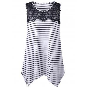 Long Lace Insert Plus Size Stripe Top