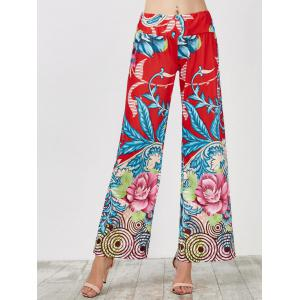 Long Palazzo Floral Pants - Blue And Red - 2xl