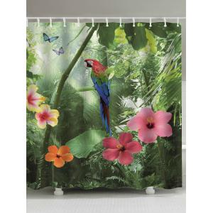 Selva Plants Print Extra Long Shower Curtains - Green - W71inch * L79inch