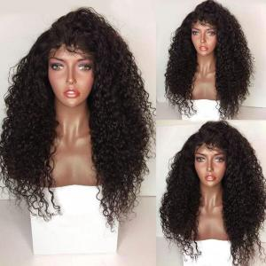 Long Kinky Curly Lace Front Synthetic Wig - Black And Brown