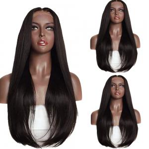 Long Straight Middle Part Tail Adduction Lace Front Synthetic Wig - Black And Brown