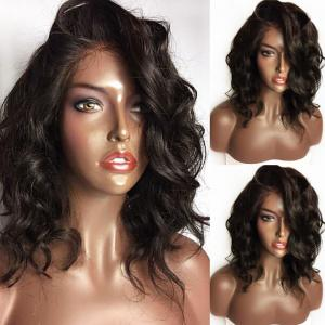 Long Curly Side Part Lace Front Synthetic Wig - Black And Brown