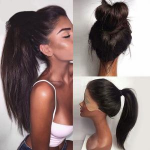 Long Ponytails Straight Lace Front Synthetic Wig - Black And Brown