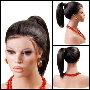 Long Centre Part Yaki Straight Lace Front Synthetic Wig - Black And Brown