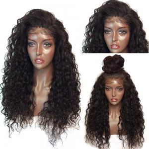 Fluffy Curly Long Lace Frontal Synthetic Wig - Black And Brown - 14inch