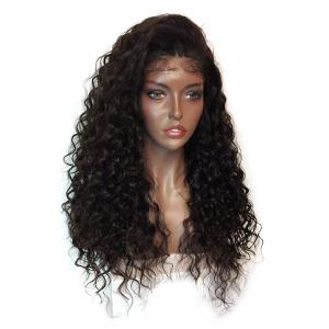 Fluffy Curly Long Lace Frontal Synthetic Wig - BLACK AND BROWN