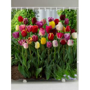 Tulip Flower Fabric Shower Curtain - Colormix - W71inch * L79inch