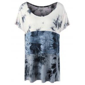 Plus Size Scoop Neck Tie Dye T-Shirt