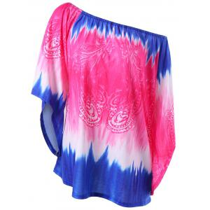 Plus Size Tie Dye Convertible Collar T-Shirt
