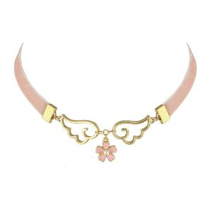 Faux Pearl Flower Wings Velvet Choker Necklace