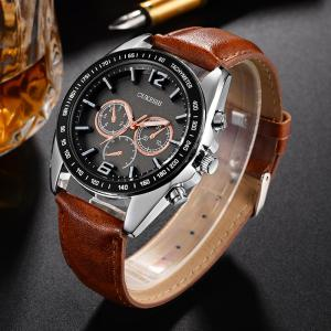 OUKESHI Faux Leather Strap Tachymeter Quartz Watch - BROWN