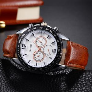 OUKESHI Faux Leather Strap Tachymeter Quartz Watch - WHITE/BROWN