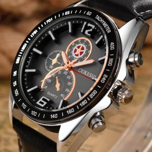 OUKESHI Faux Leather Strap Quartz Tachymeter Watch -