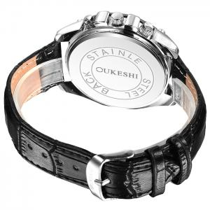 OUKESHI Faux Leather Strap Roman Numeral Watch - BLACK