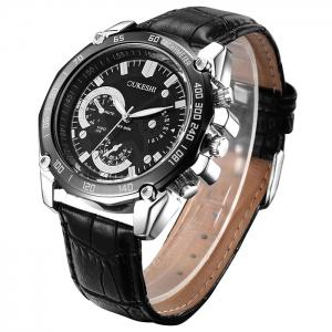 OUKESHI Faux Leather Strap Tachymeter Analog Watch - Black - Xl