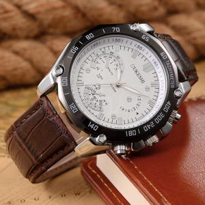 OUKESHI Faux Leather Strap Tachymeter Analog Watch -