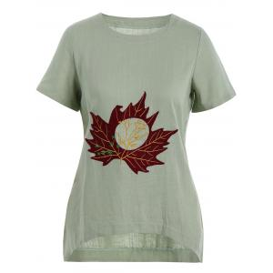 Plus Size Linen Maple Leaf Embroidered  Top - Light Green - 3xl