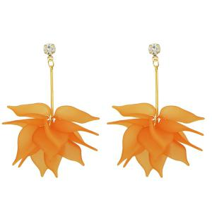 Rhinestone Acrylic Flower Earrings - Orange - S