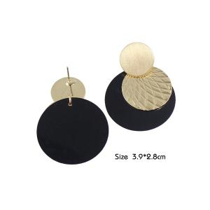 Disc Circle Drop Earrings - GOLDEN