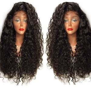 Long Curly Side Parting Lace Front High Temperature Fiber Wig - Natural Black 04a# - 18cm