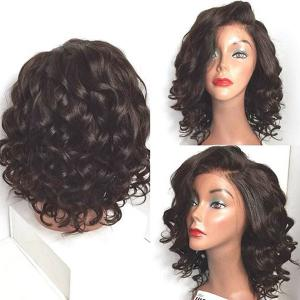 Short Wavy Side Parting Lace Front High Temperature Fiber Wig - Natural Black 04a# - 14inch