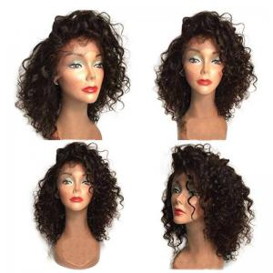Fluffy Medium Curly Side Bang Synthetic Lace Front Wig - Natural Black 04a# - 16inch