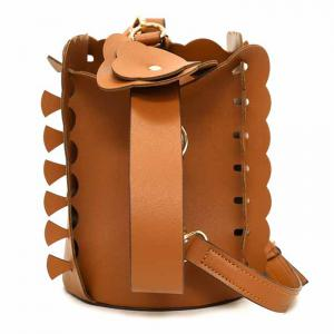 Scalloped Bucket Bag and Pouch Bag - BROWN