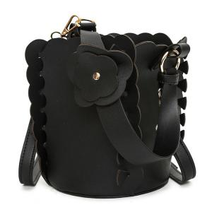 Scalloped Bucket Bag and Pouch Bag - BLACK