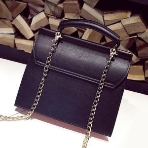 Metal Detial Color Block Crossbody Bag -