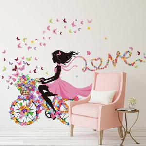 ... Girl Ride Floral Bike Decorative Wall Stickers ...