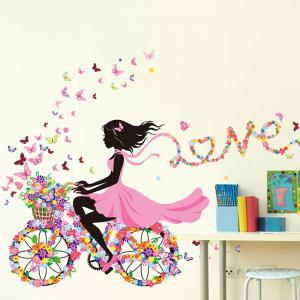 Girl Ride Floral Bike Decorative Wall Stickers