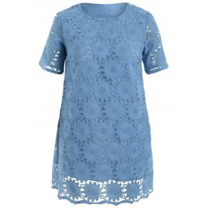 Double Layered Plus Size Mini Lace Dress