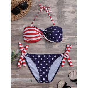 Twist Bandeau Padded American Flag Patriotic Swimwear