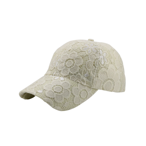 Striking Lace Flower Breathable Baseball Cap - Beige - One Size